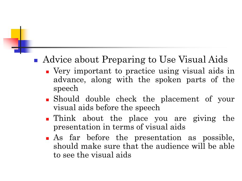 Advice about Preparing to Use Visual Aids