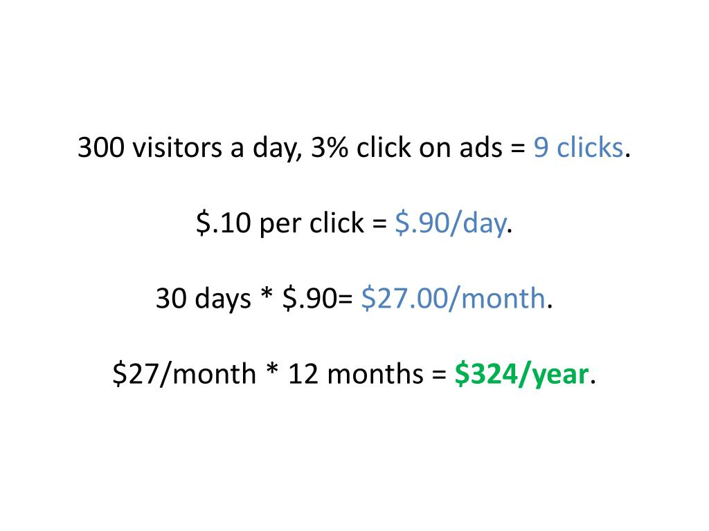 300 visitors a day, 3% click on ads =