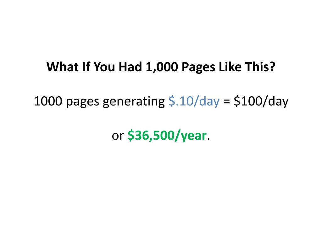 What If You Had 1,000 Pages Like This?
