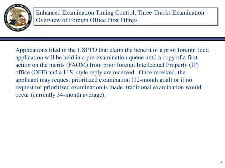 Enhanced Examination Timing Control, Three-Tracks Examination – Overview of Foreign Office First F...