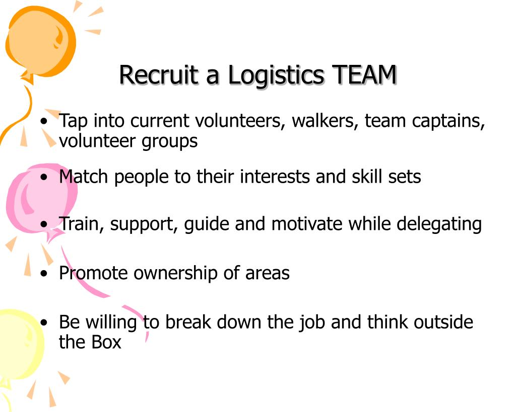 Recruit a Logistics TEAM