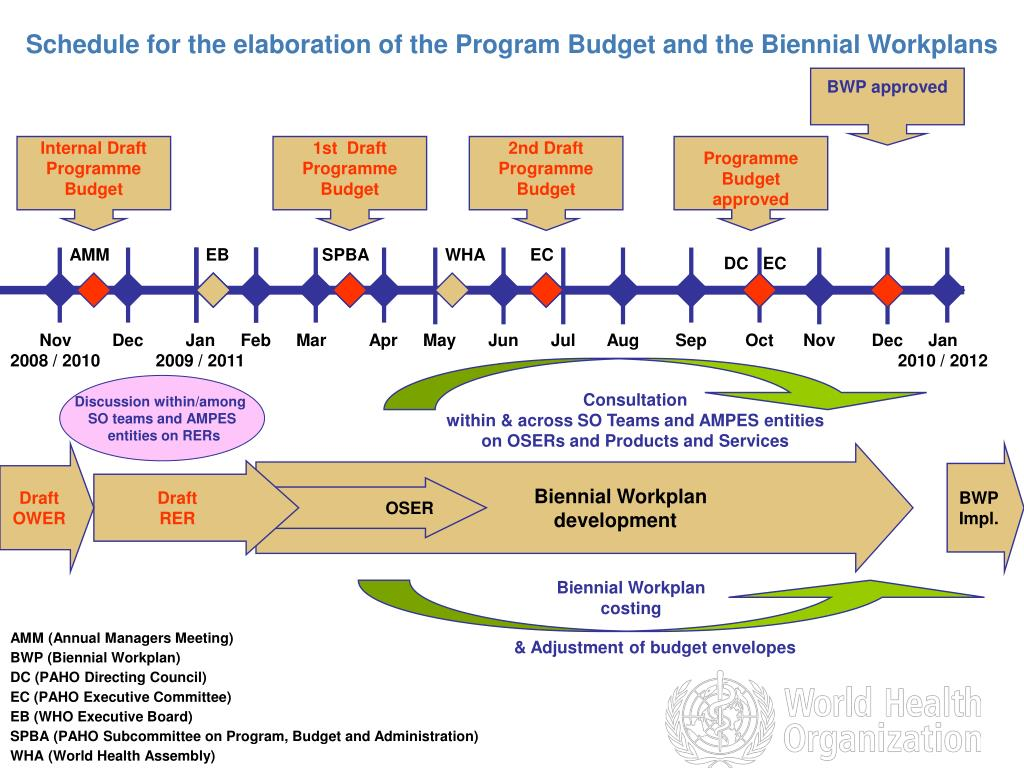Schedule for the elaboration of the Program Budget and the Biennial Workplans