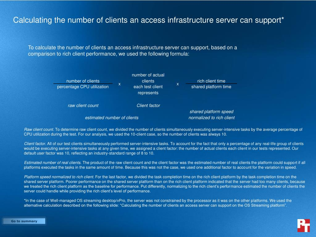 Calculating the number of clients an access infrastructure server can support*