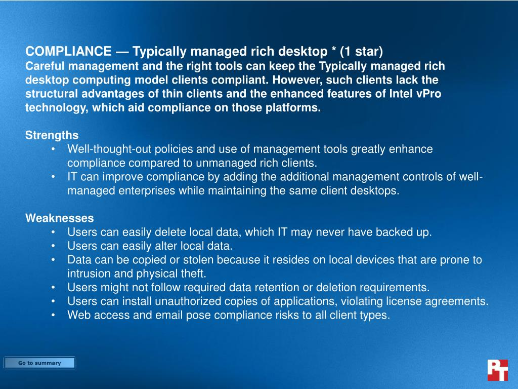 COMPLIANCE — Typically managed rich desktop * (1 star)
