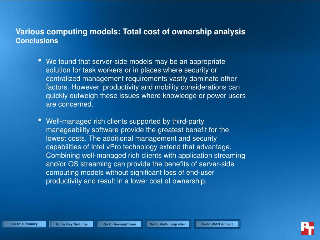 Various computing models: Total cost of ownership analysis