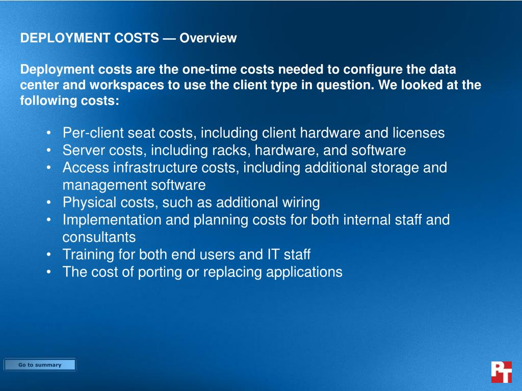 DEPLOYMENT COSTS — Overview