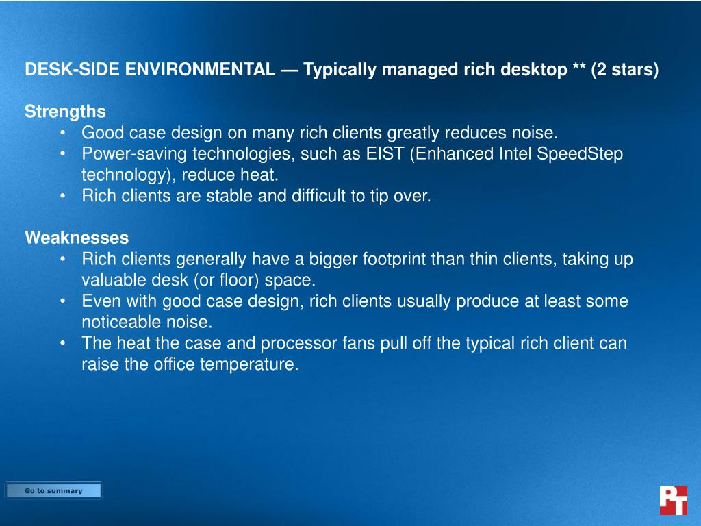 DESK-SIDE ENVIRONMENTAL — Typically managed rich desktop ** (2 stars)