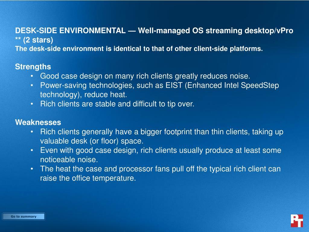 DESK-SIDE ENVIRONMENTAL — Well-managed OS streaming desktop/vPro ** (2 stars)