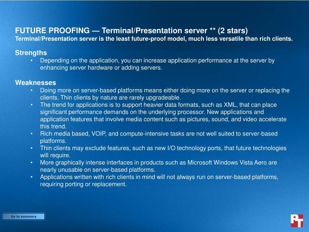 FUTURE PROOFING — Terminal/Presentation server ** (2 stars)