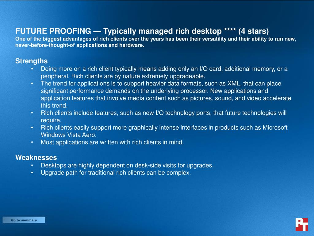 FUTURE PROOFING — Typically managed rich desktop **** (4 stars)