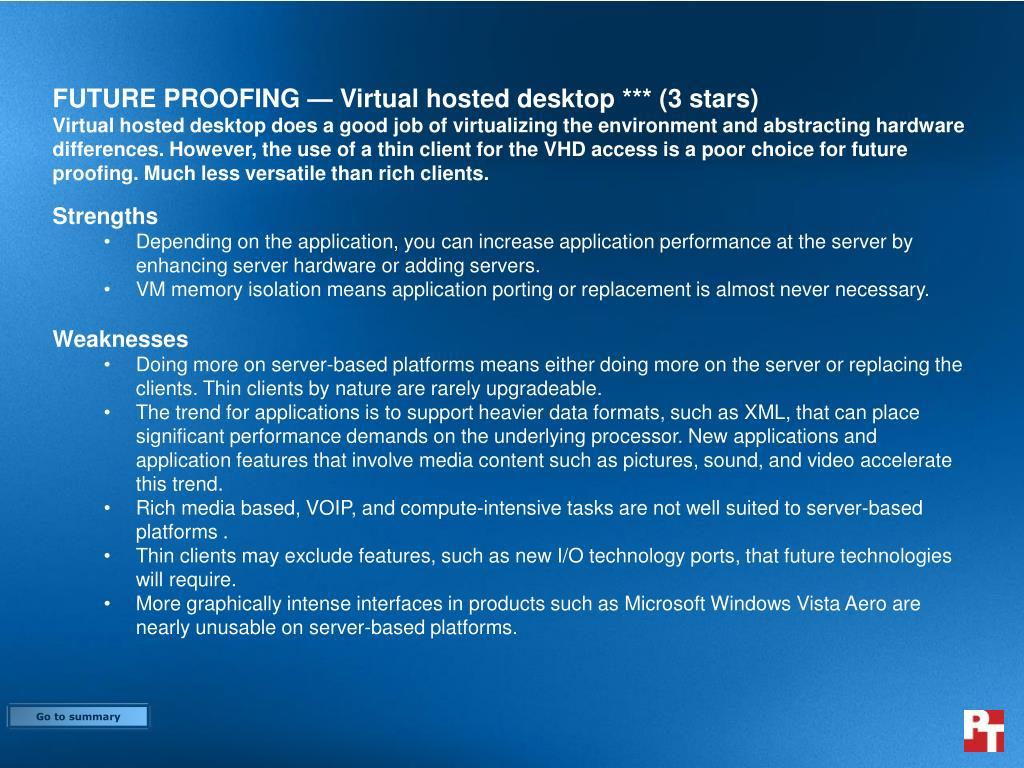 FUTURE PROOFING — Virtual hosted desktop *** (3 stars)
