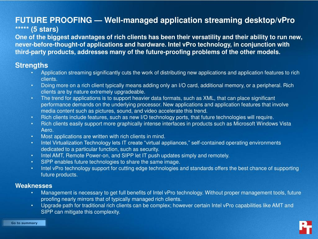FUTURE PROOFING — Well-managed application streaming desktop/vPro