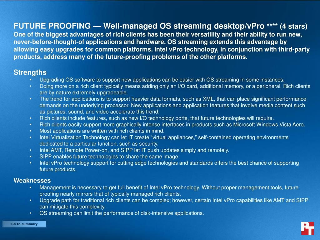 FUTURE PROOFING — Well-managed OS streaming desktop/vPro