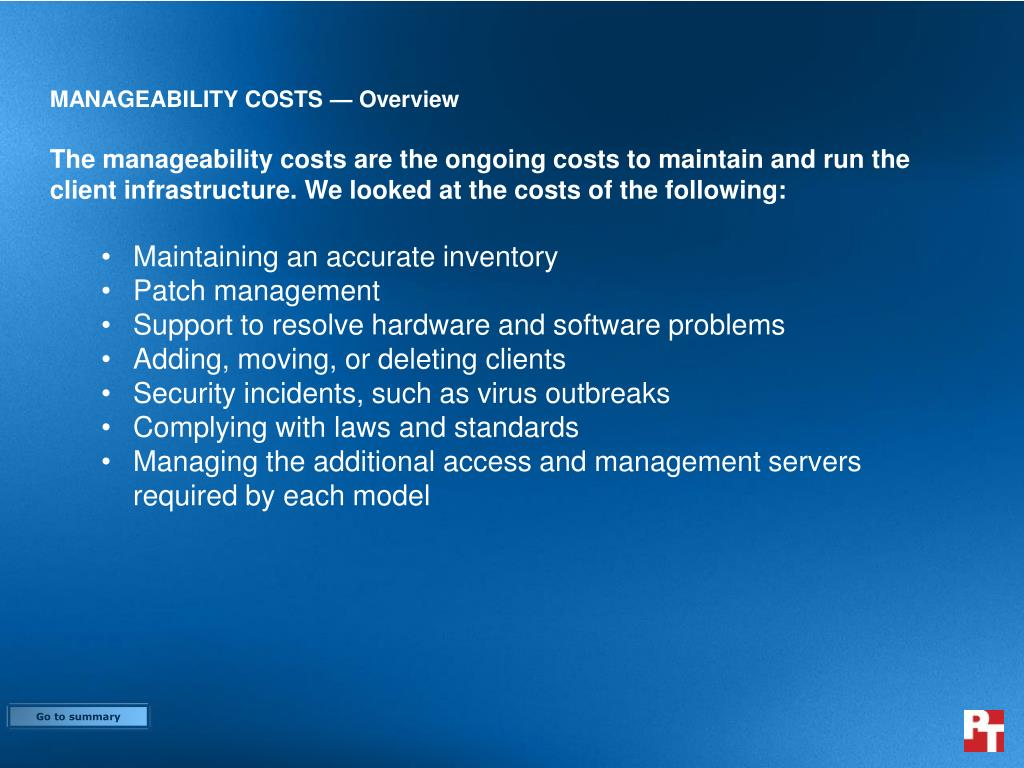 MANAGEABILITY COSTS — Overview