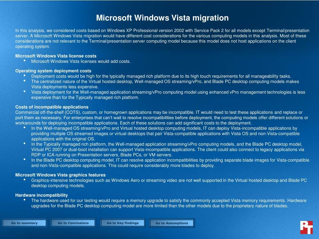 Microsoft Windows Vista migration