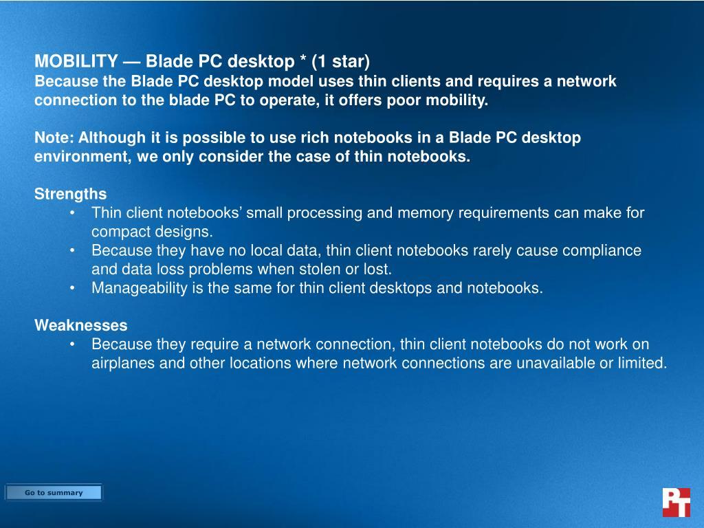 MOBILITY — Blade PC desktop * (1 star)