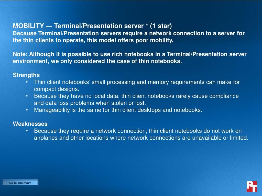 MOBILITY — Terminal/Presentation server * (1 star)