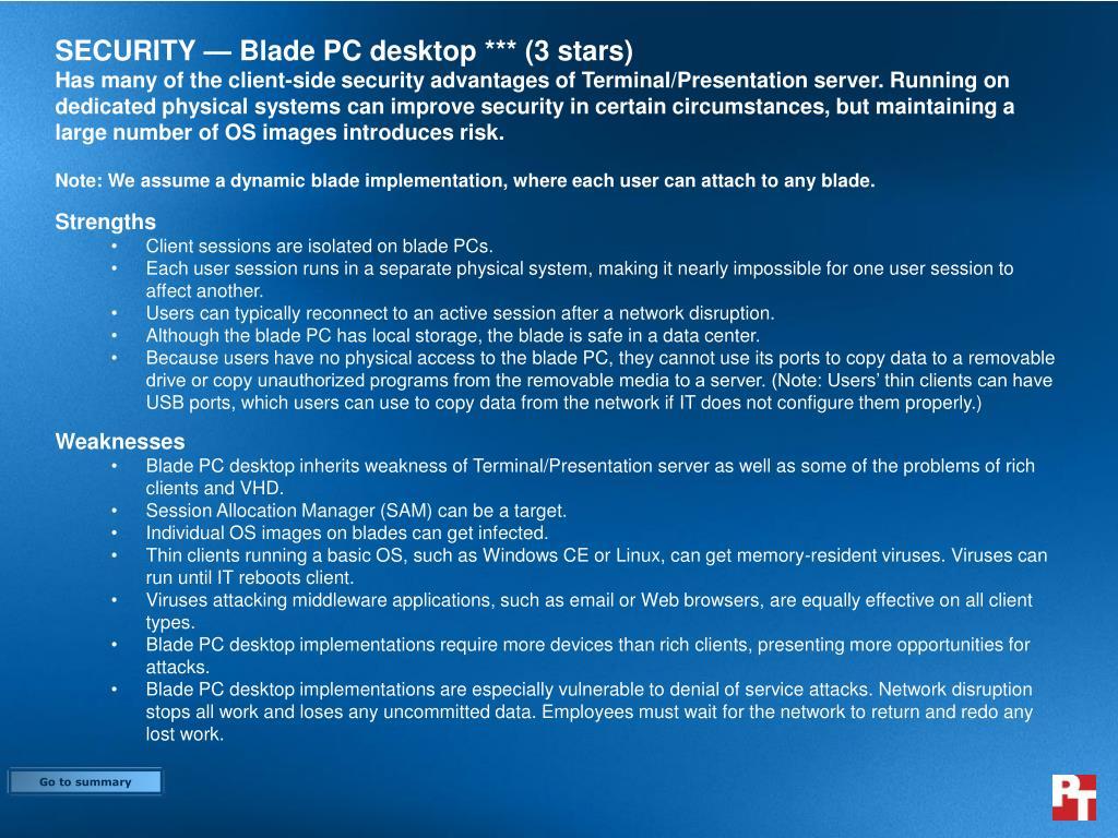 SECURITY — Blade PC desktop *** (3 stars)
