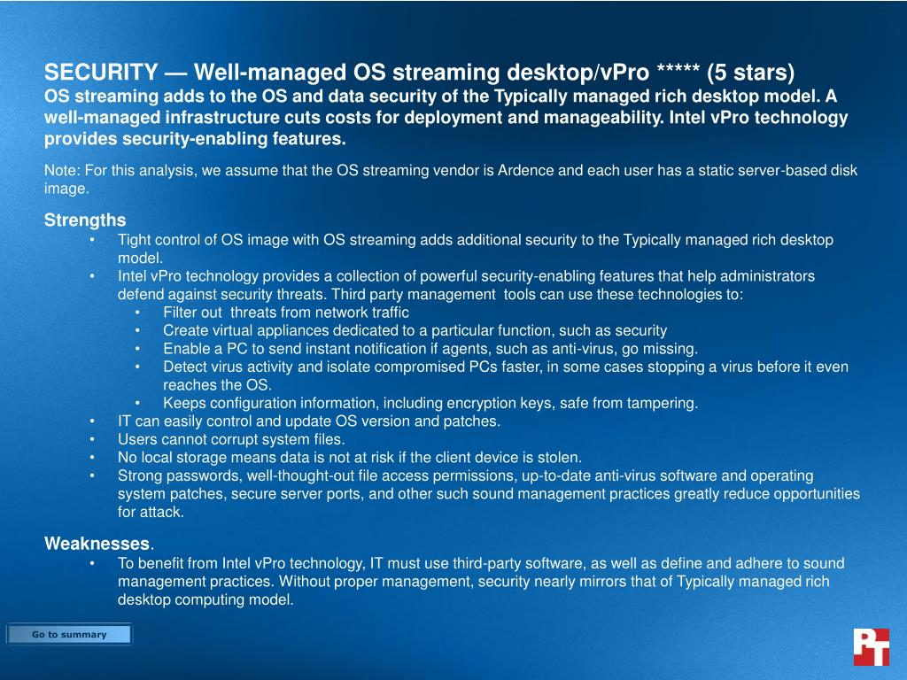 SECURITY — Well-managed OS streaming desktop/vPro ***** (5 stars)