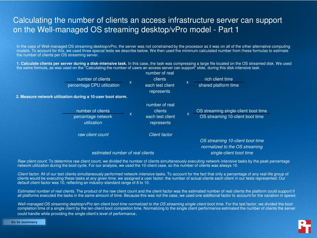 Calculating the number of clients an access infrastructure server can support on the Well-managed OS streaming desktop/vPro model - Part 1