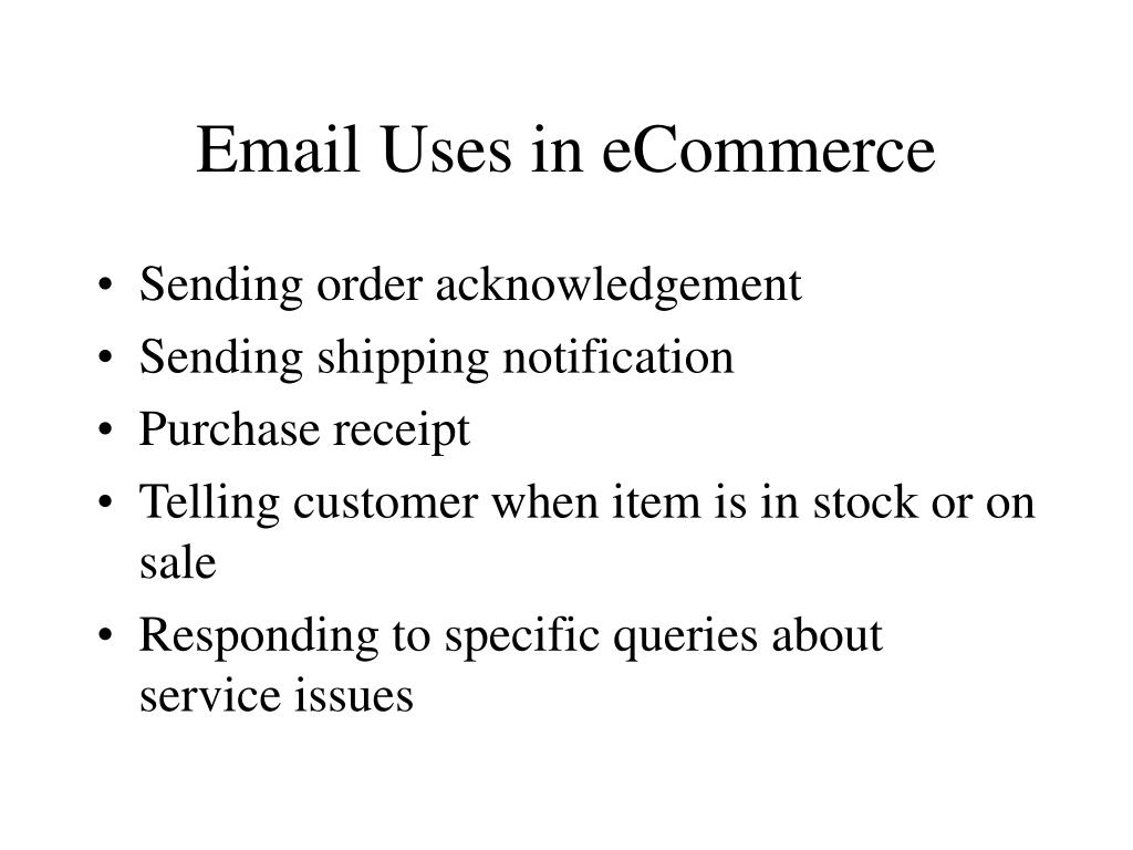 Email Uses in eCommerce