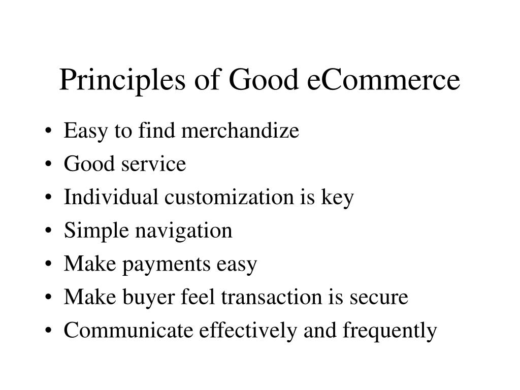 Principles of Good eCommerce