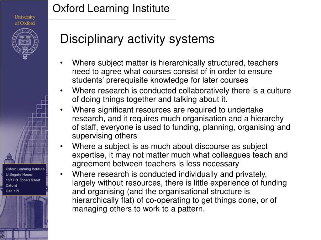 Disciplinary activity systems