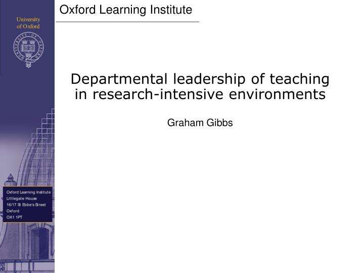 Departmental leadership of teaching