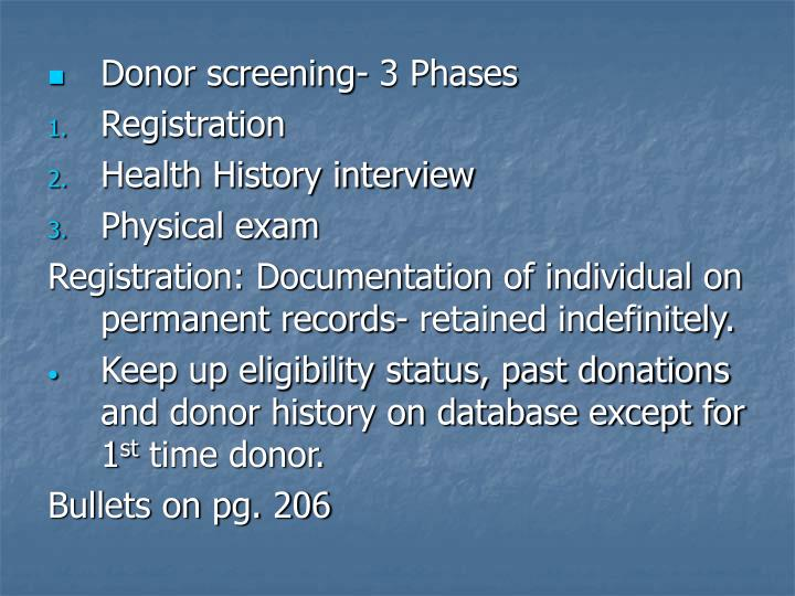 Donor screening- 3 Phases