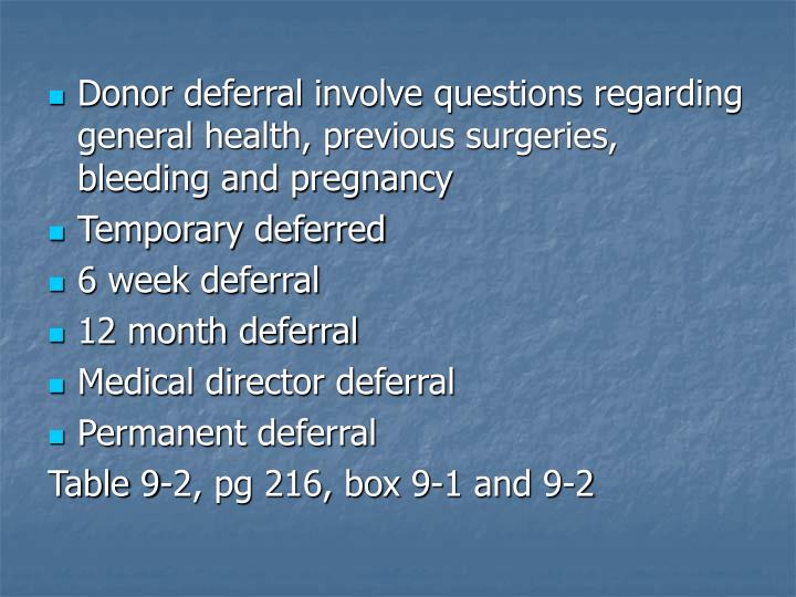 Donor deferral involve questions regarding general health, previous surgeries, bleeding and pregnancy