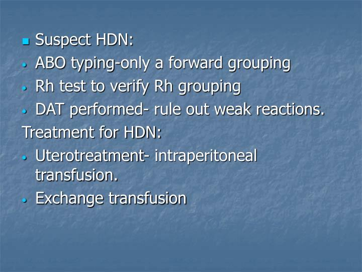 Suspect HDN: