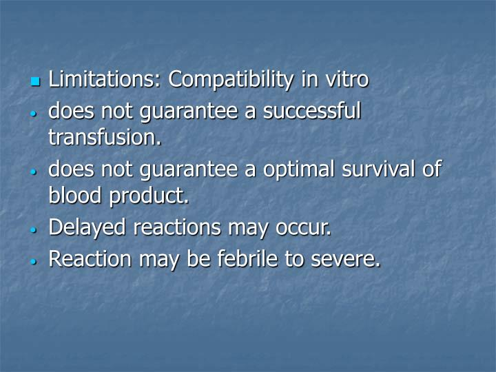 Limitations: Compatibility in vitro