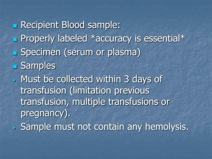 Recipient Blood sample: