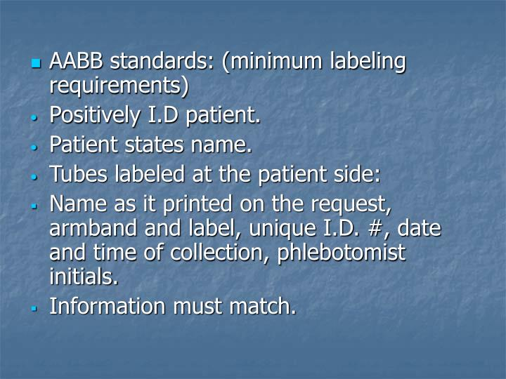 AABB standards: (minimum labeling requirements)