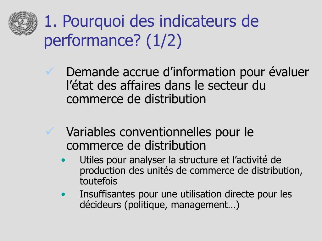 1. Pourquoi des indicateurs de performance? (1/2)