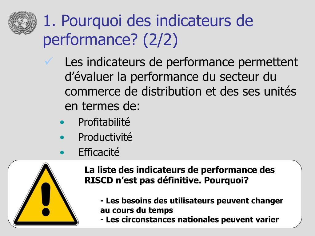 1. Pourquoi des indicateurs de performance? (2/2)