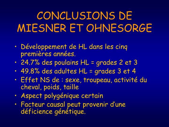 CONCLUSIONS DE MIESNER ET OHNESORGE