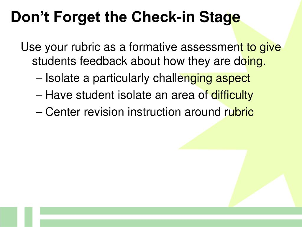 Don't Forget the Check-in Stage