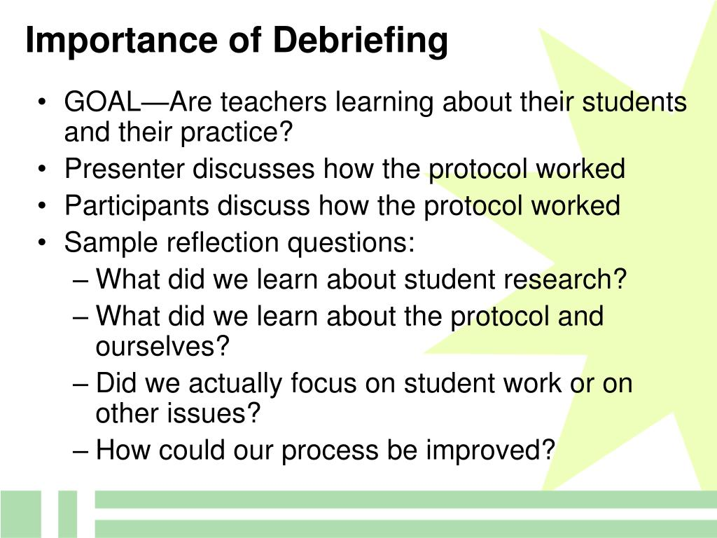Importance of Debriefing