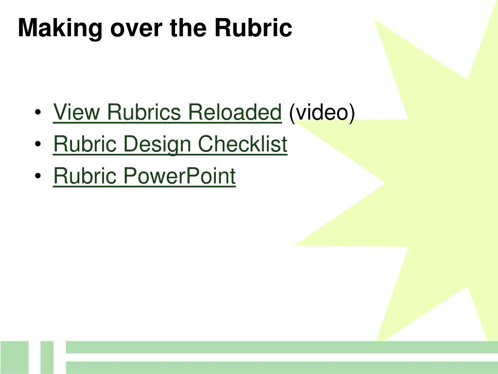 Making over the Rubric