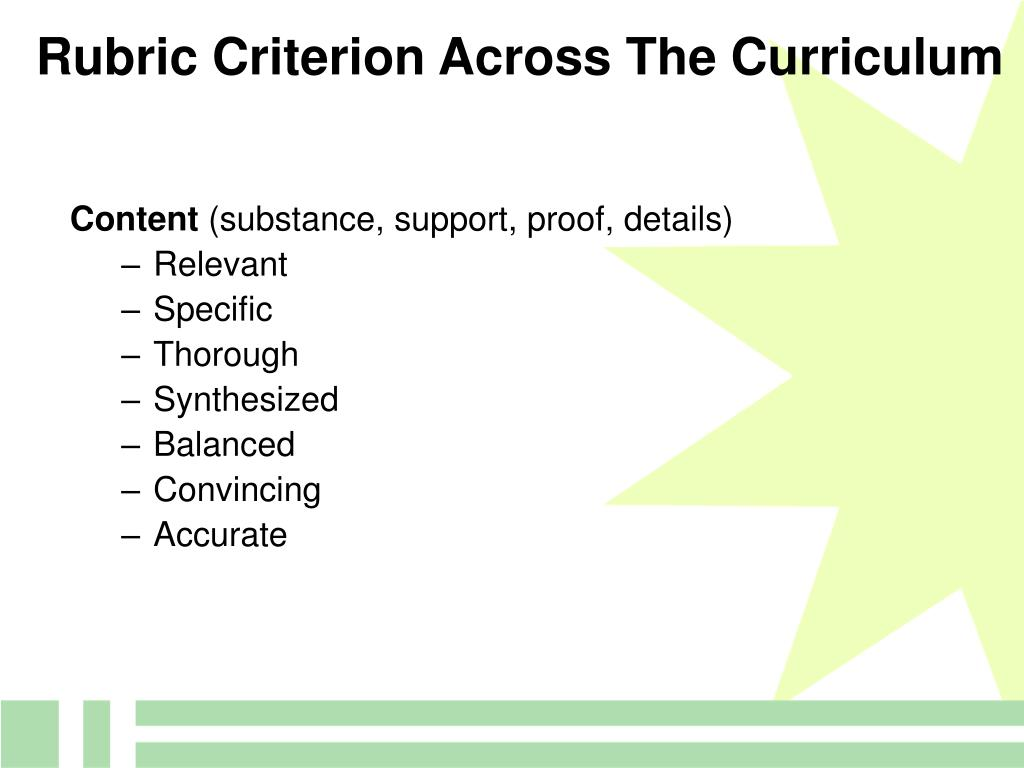 Rubric Criterion Across The Curriculum