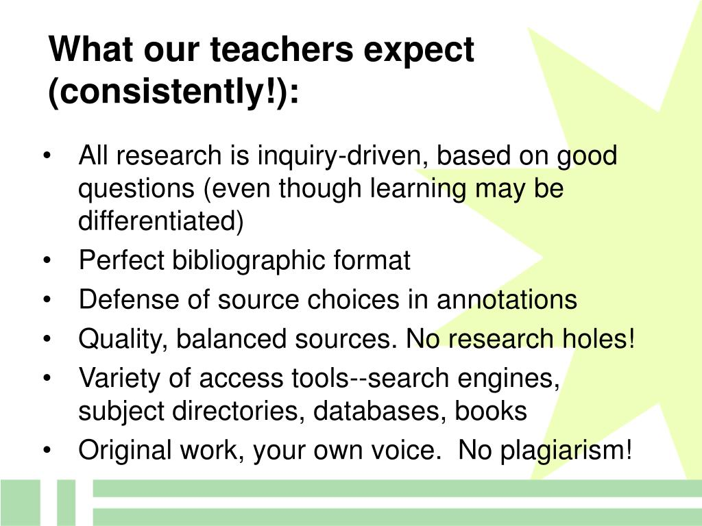 What our teachers expect