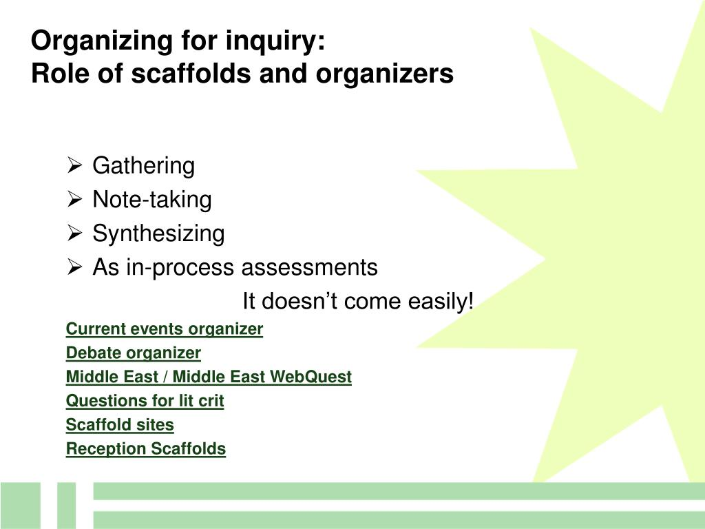 Organizing for inquiry: