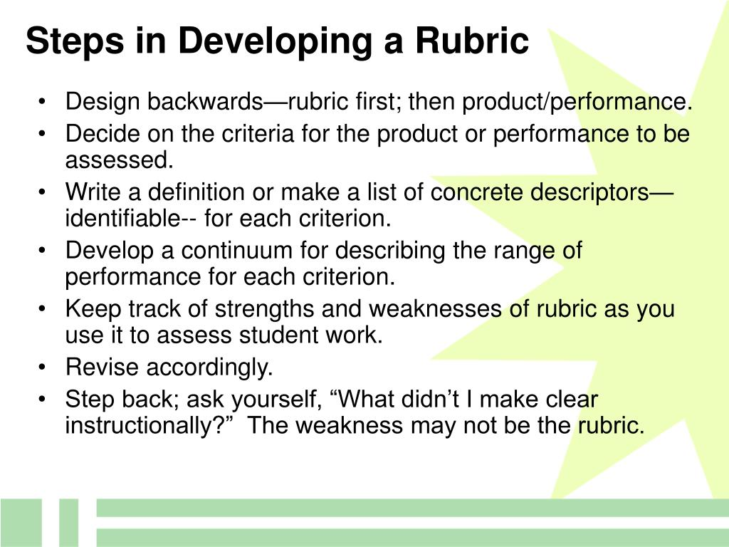 Steps in Developing a Rubric