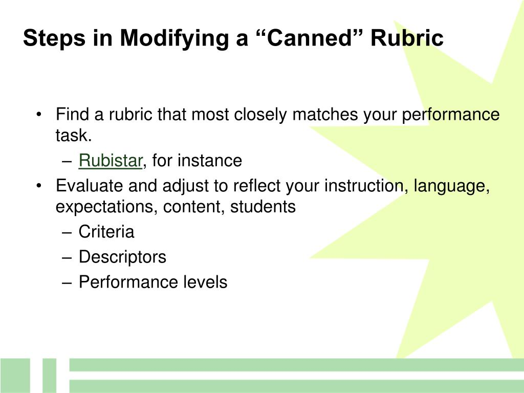 "Steps in Modifying a ""Canned"" Rubric"