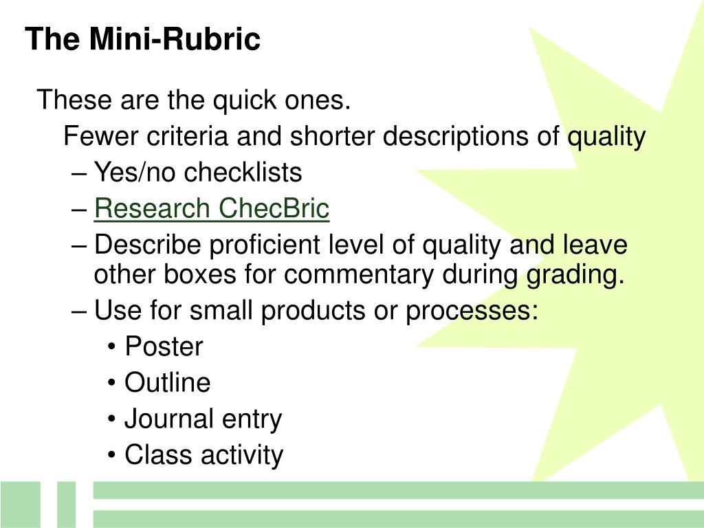 The Mini-Rubric