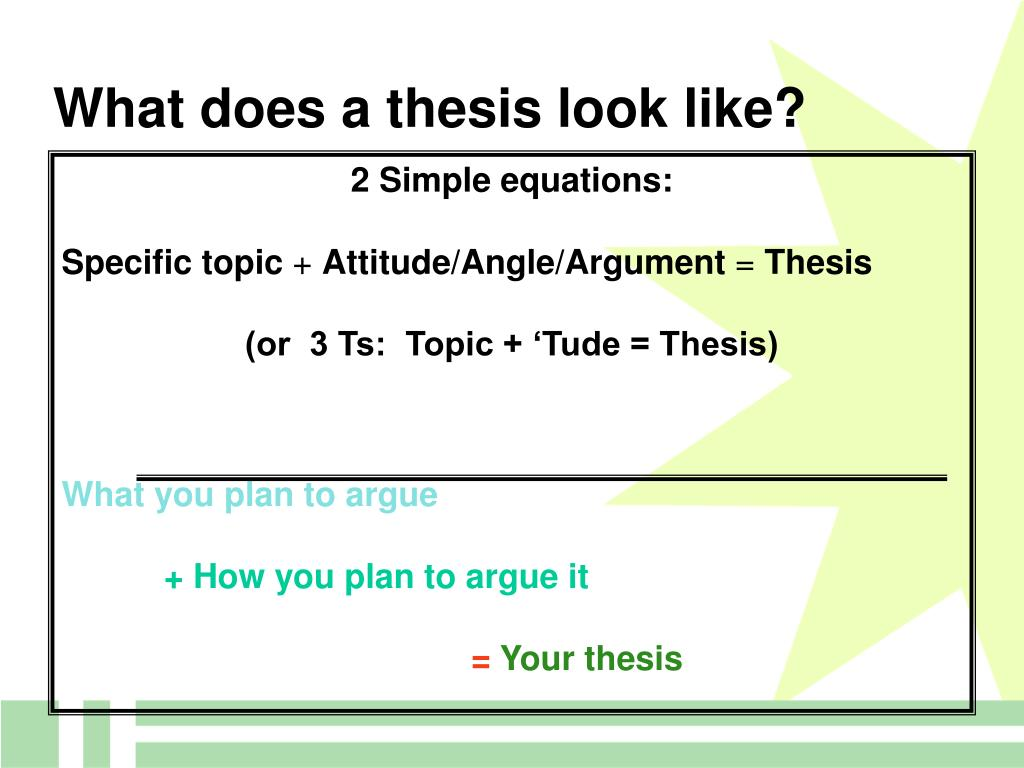 What does a thesis look like?