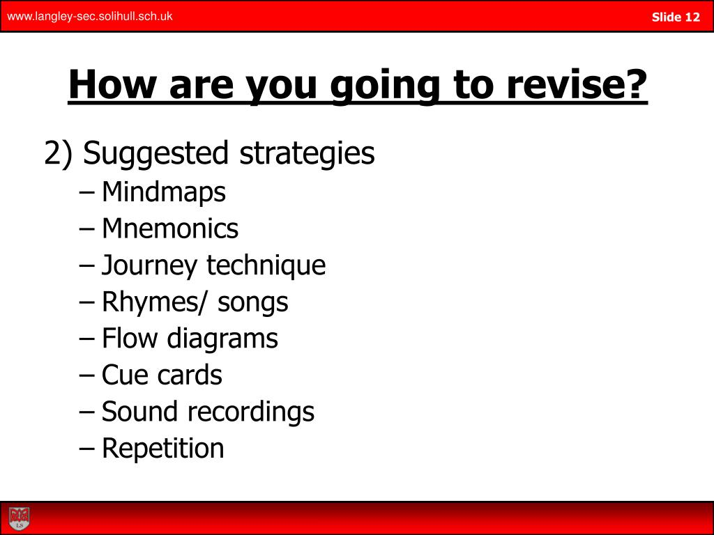 How are you going to revise?