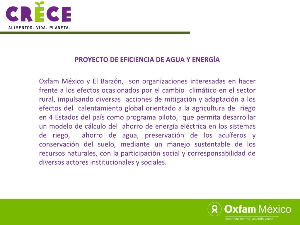 PROYECTO DE EFICIENCIA DE AGUA Y ENERGÍA