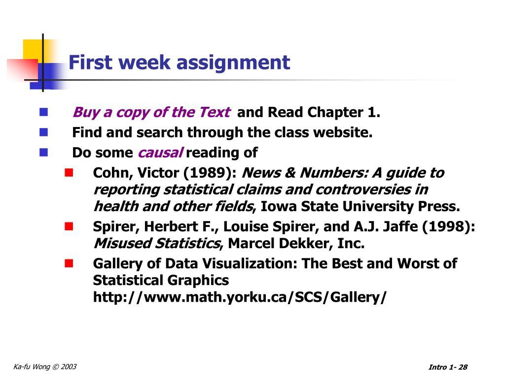 First week assignment